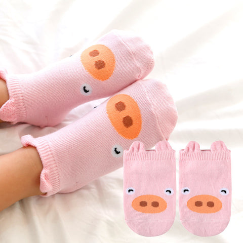 Cute  Unisex Non Slip Animal Socks with Ears for Toddlers and Kids