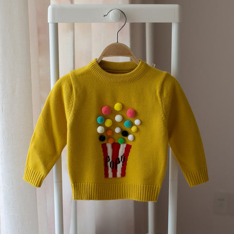 Popcorn Knitted Sweater for Baby Girl