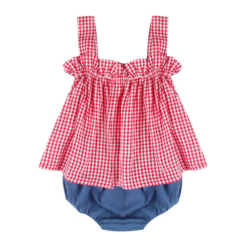 2 Piece Country Set Top+Bubble Pants for Baby Girl