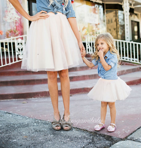 Mum & Child Matching Outfit Set Denim Shirt & Tutu Skirt