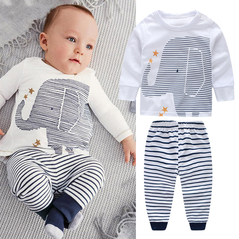 Long Sleeve Elephant Stripes Set for Baby Boy