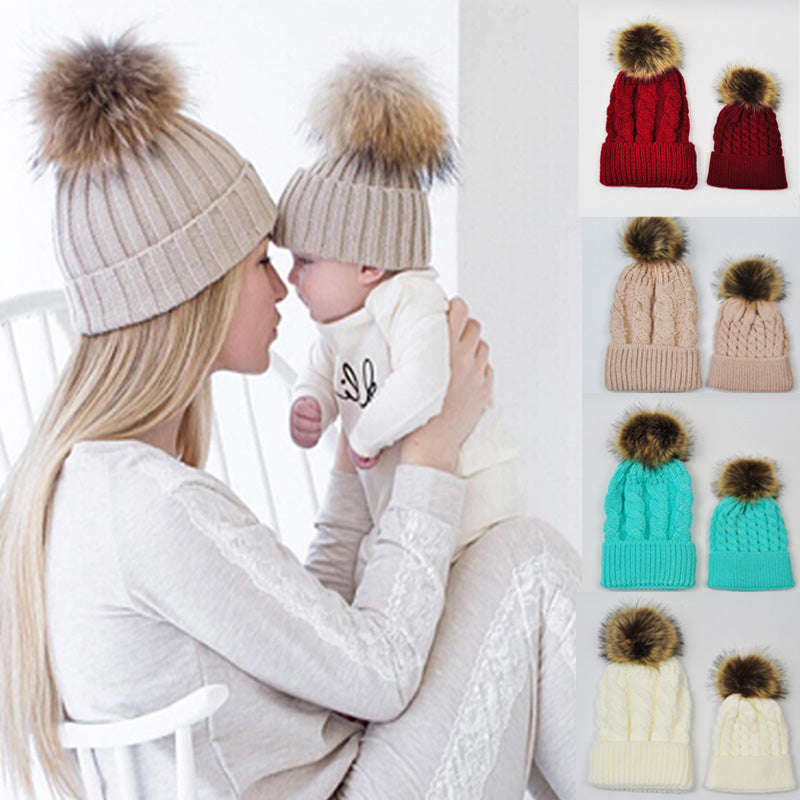 2 Piece Mommy&Baby Knitted Wool Hat