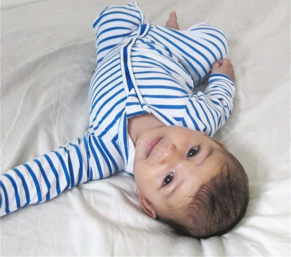 Striped Long-Sleeve Jumpsuit with Zipper for Baby