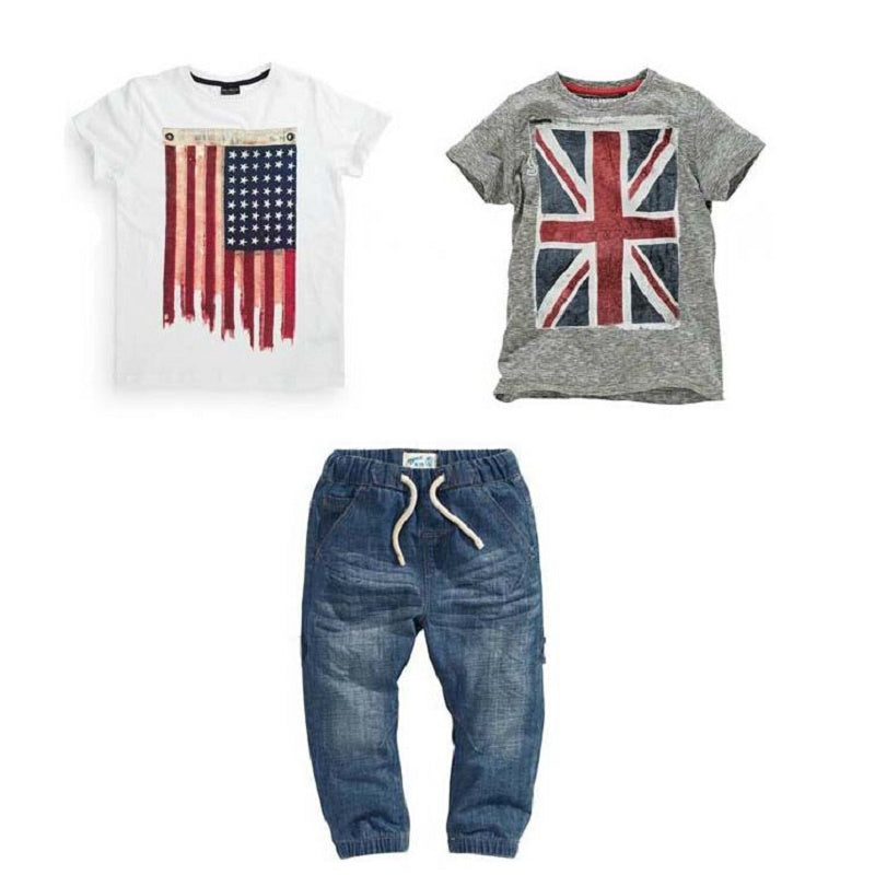 Boy Summer Clothes Set with British and American Flag