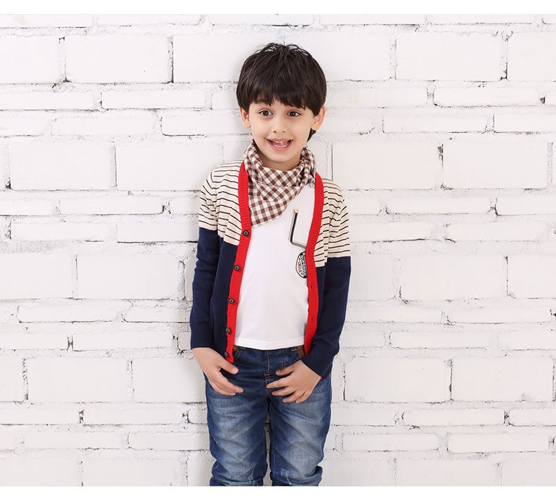 Striped V-neck Cardigan for Boy