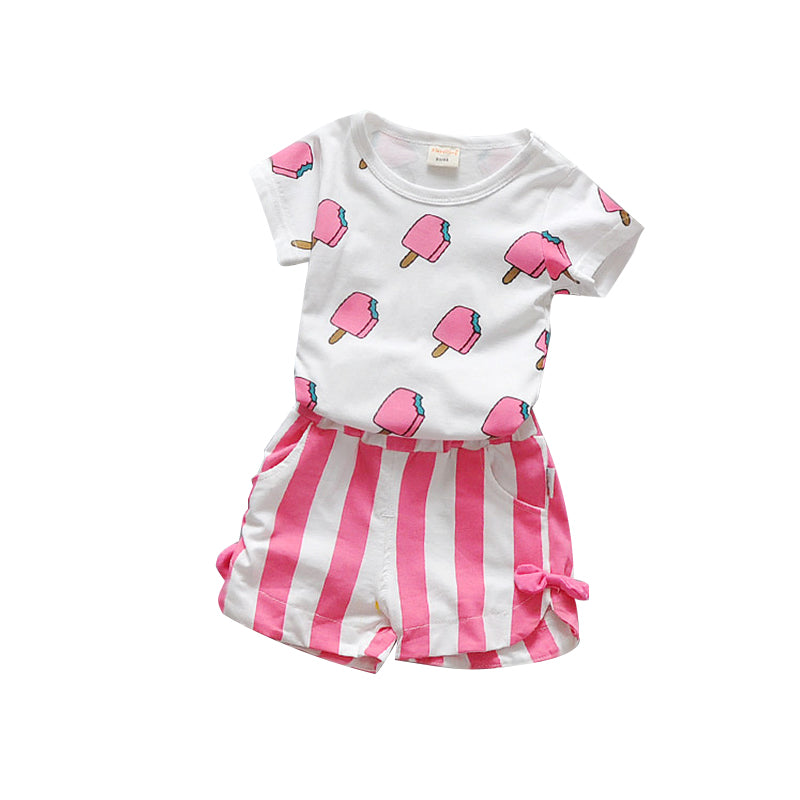 100% Cotton Ice Cream T-shirts + Shorts Set