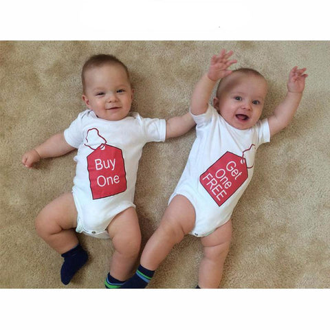 Short-sleeve Matching Bodysuit for Baby Twins - Buy One/Get One