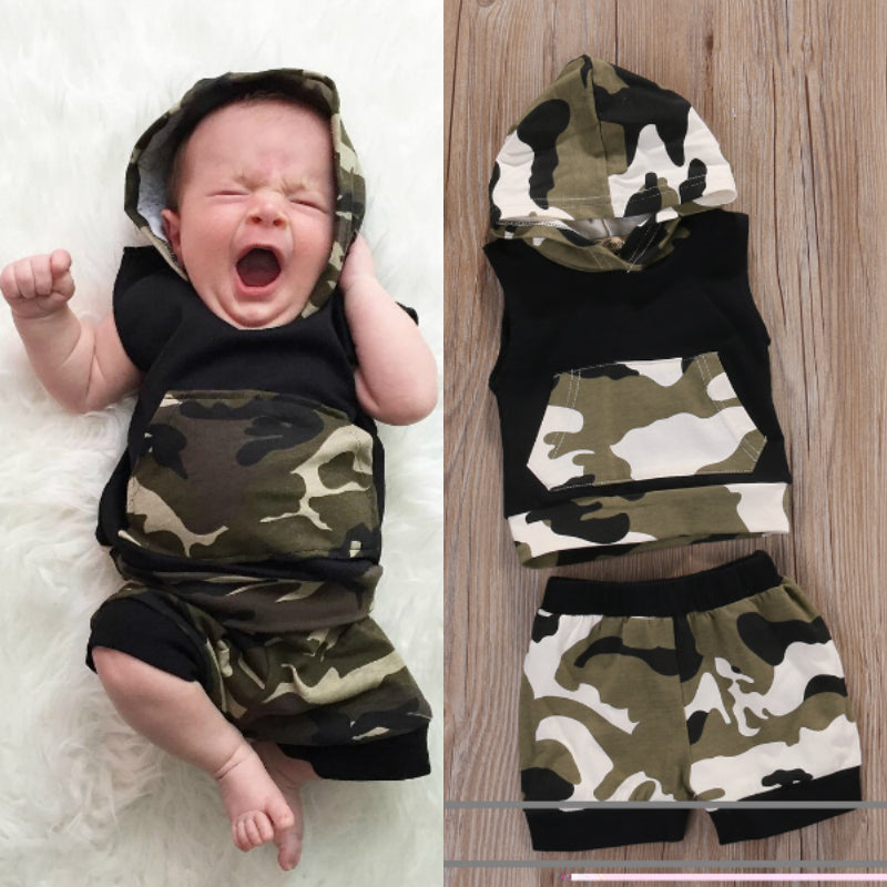 Baby Boy Camouflage Sleeveless Hooded T-shirt+Short Pants