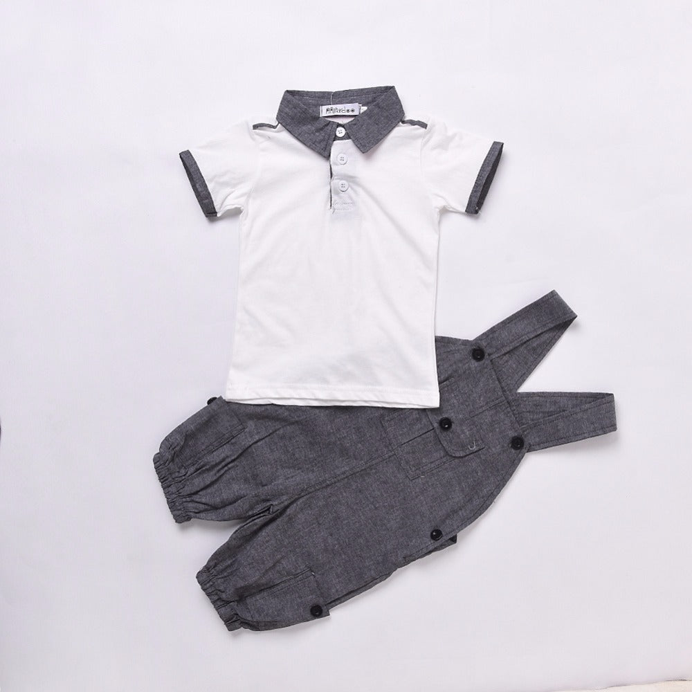 2 Piece Summer Set T-shirt+Strap Jeans for Baby Boy