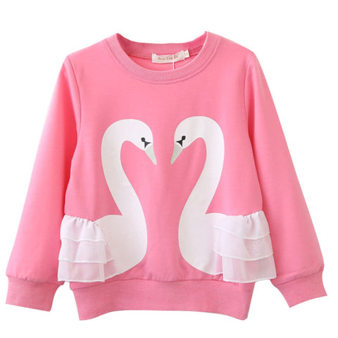 Cute Sweatshirt with Swans for Girl