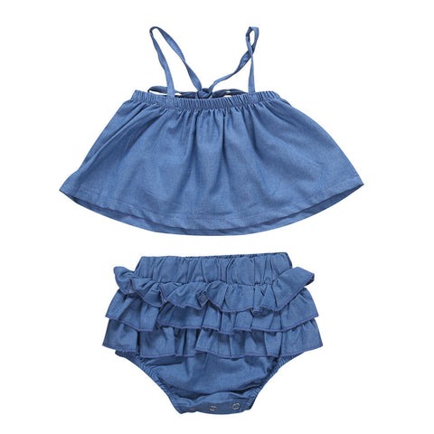 Baby Girl Sleeveless Denim Ruffle Set
