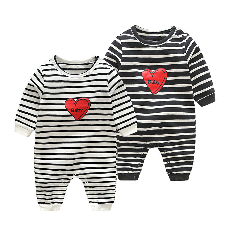 Unisex Rompers with Heart & Stripes for Baby Boy or Girl