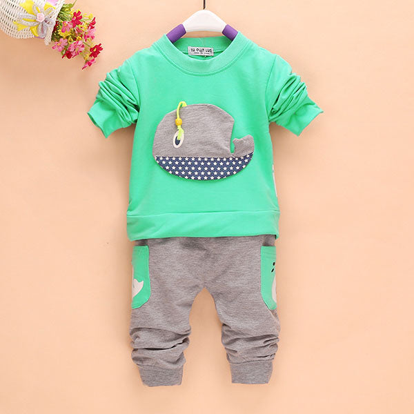 2 Piece Outfit Whale Top + Long Pants for Boy