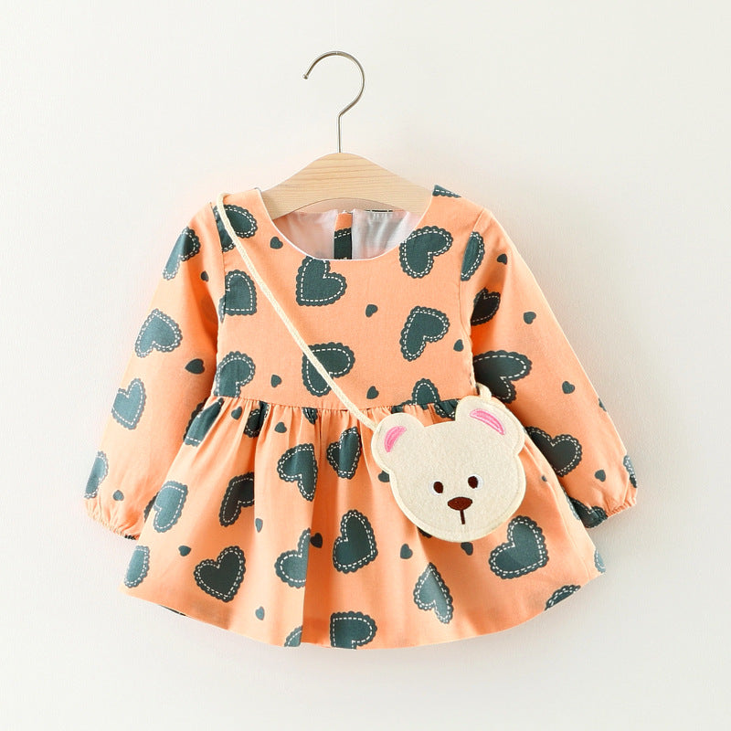 Heart Print Dress with Bag for Baby Girls