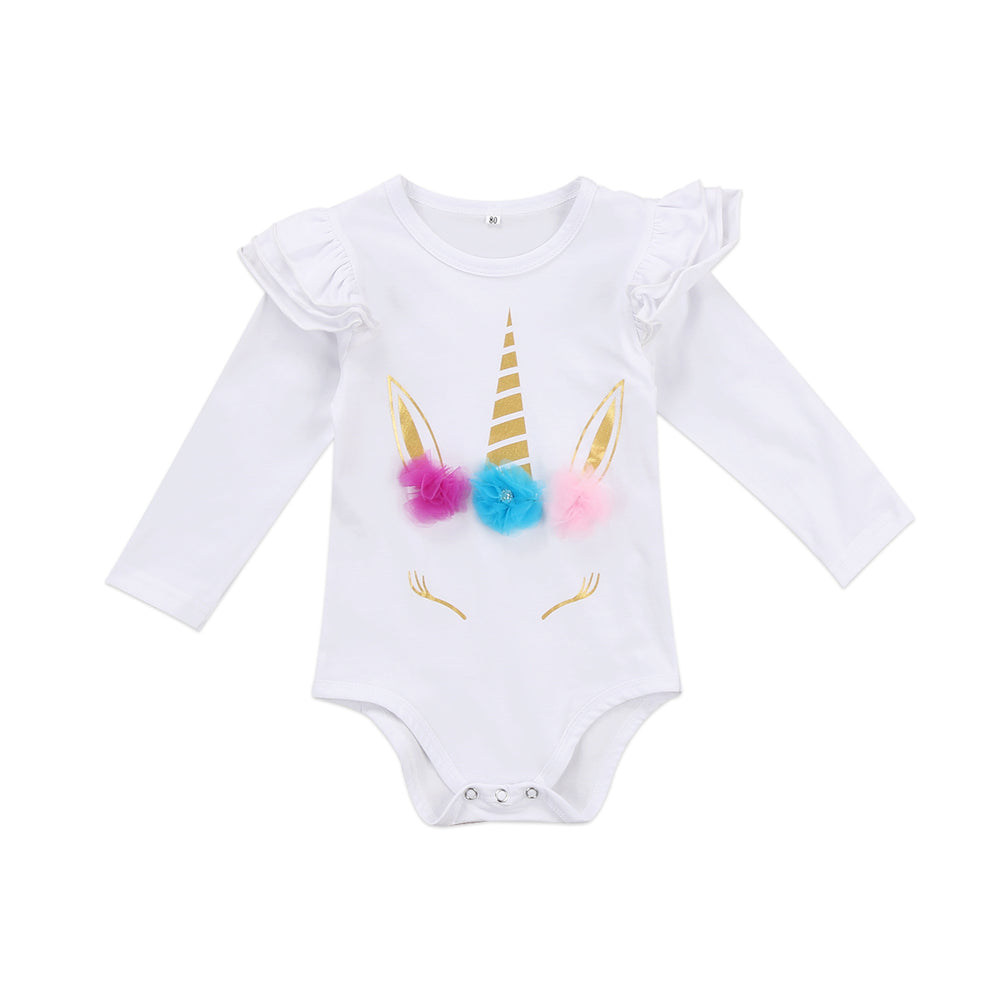Unicorn Ruffled Romper for Baby Girl