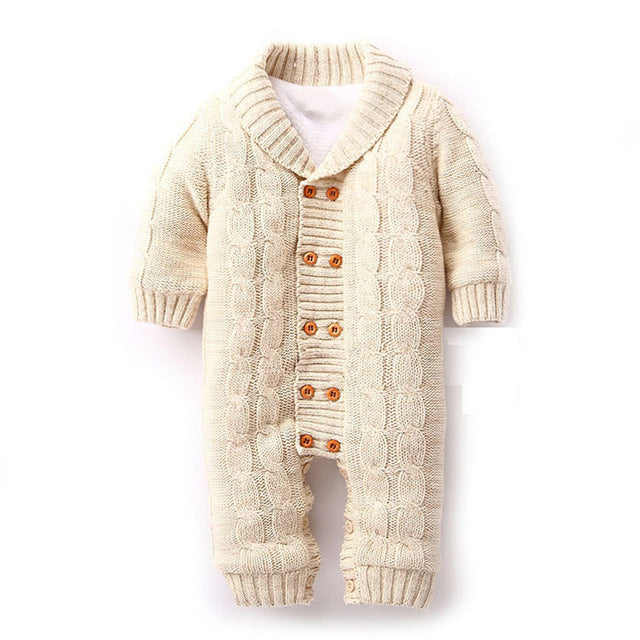 Thick Warm Knitted Jumpsuits for Baby Boy or Girl