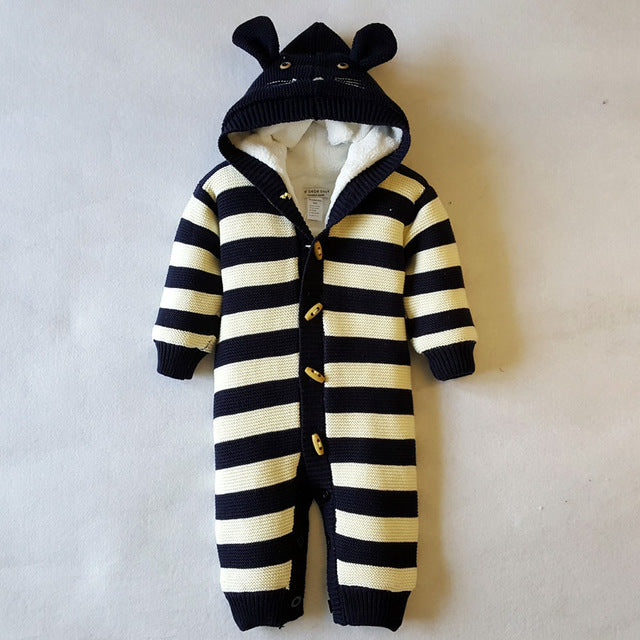 Outerwear Jumpsuit with Stripes and Ears