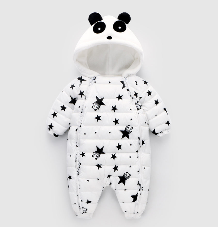 Unisex Baby Snowsuit with Cute Panda Hood