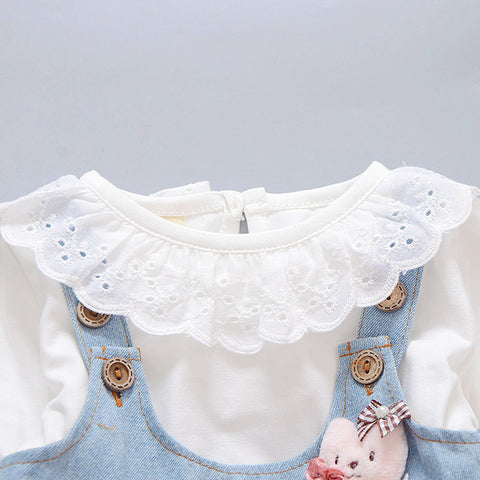 2 Piece Denim Lace Dress for Baby Girls