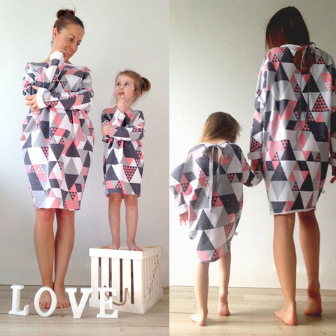 Mother & Daughter Matching Long Sleeve Casual Dress