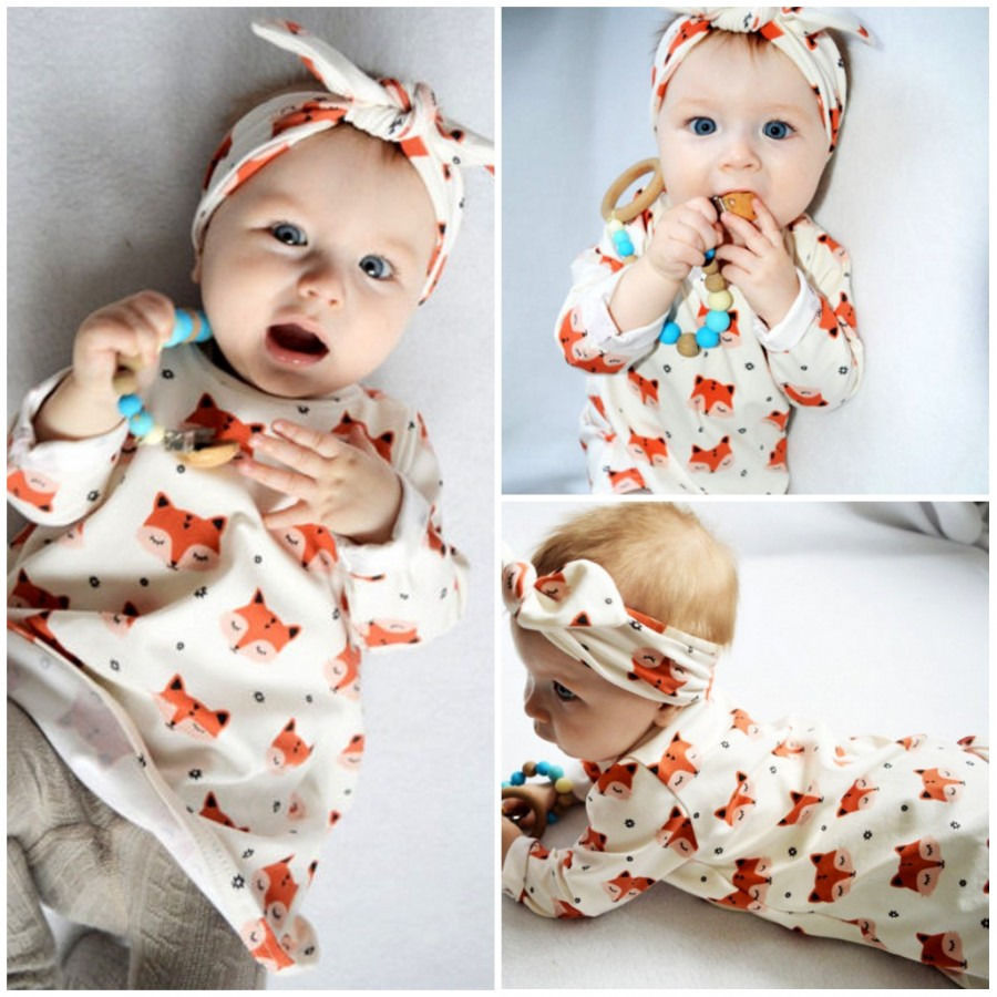 Baby Girl Long Sleeve Fox Dress+Headband