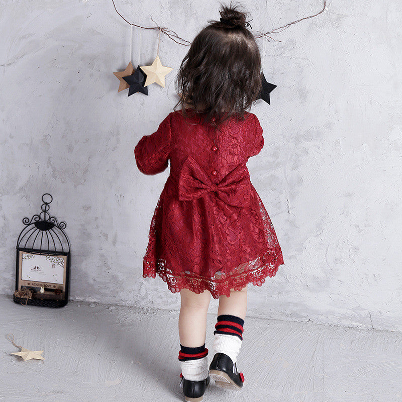 Lace Dress with Bow for Baby Girl