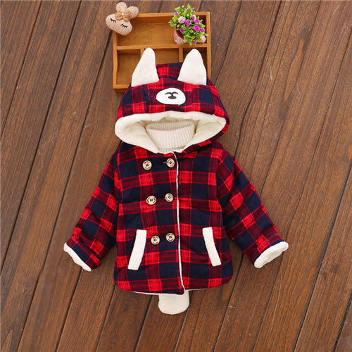 Hooded Coat for Baby Boys with Bear Ears and Tail