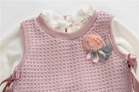 2 Piece Autumn Dress + knitted Vest