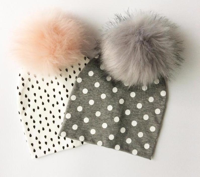 Dots Cotton Hat with Faux Fur Pompom