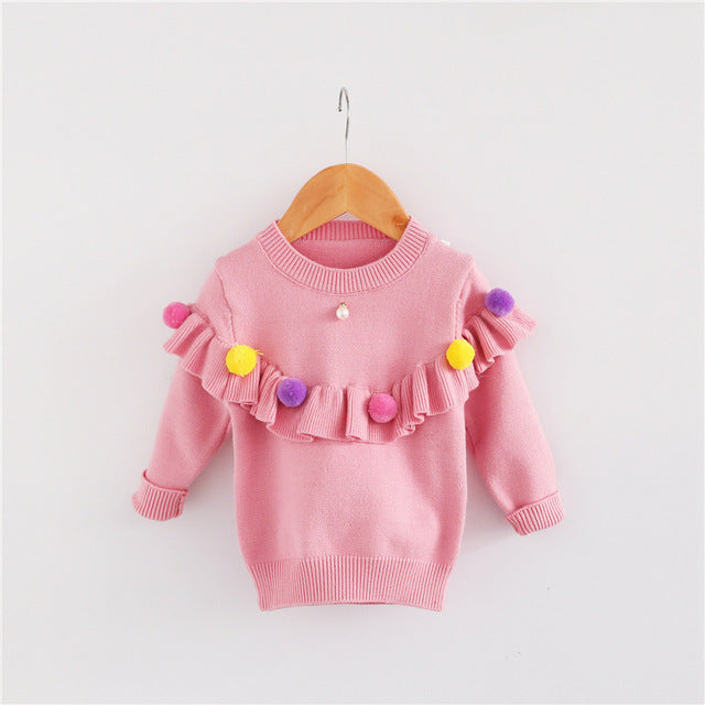 Knitted Sweater with Pompom and Ruffles for Girl