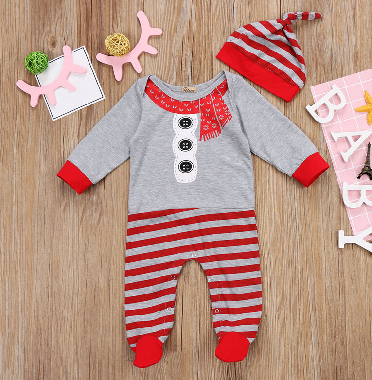 Cute Christmas Jumpsuit + Hat for Baby Boy