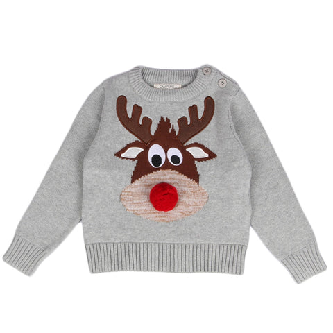 Knitted Reindeer Sweater for Boy and Girl