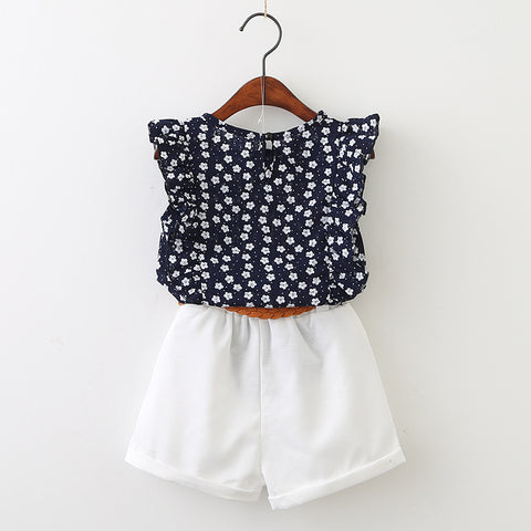 Set of Blue Flower T-shirt + White Pants for Girls