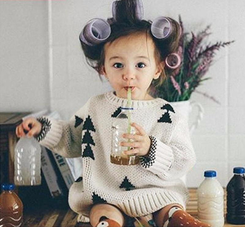 Cosy Knitted Sweater with Triangles for Girl