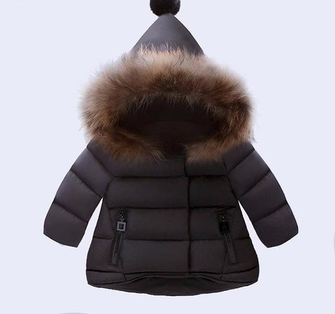 Hooded Winter Coat with Fur for Girls