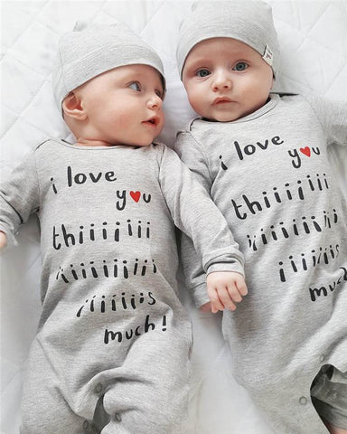 Baby or Twins 2 Pieces Set Lovely Jumpsuit + Hat