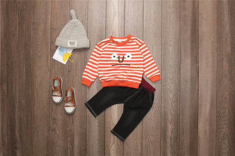 2 Piece Outfit Round Neck T-shirt + Casual Pants  for Boys