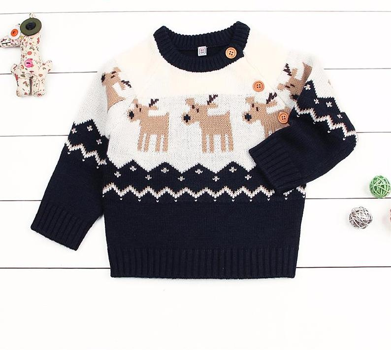 Winter Christmas Knitted Pullover for Baby Boy or Girl