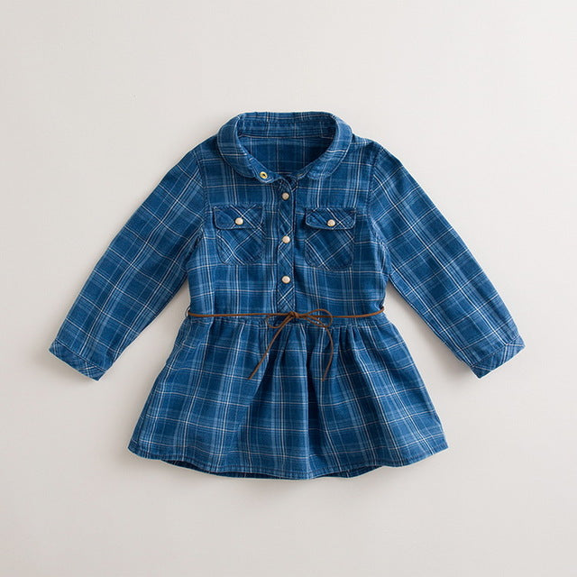 Blue Check Denim Shirt Dress for Girl