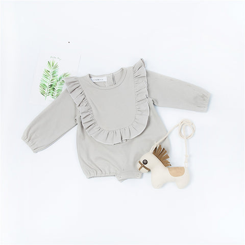 100% Cotton Baby Girl Romper with Ruffle Collar