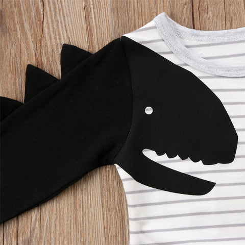Dinosaur Cotton Jumpsuit with Stripes for Baby