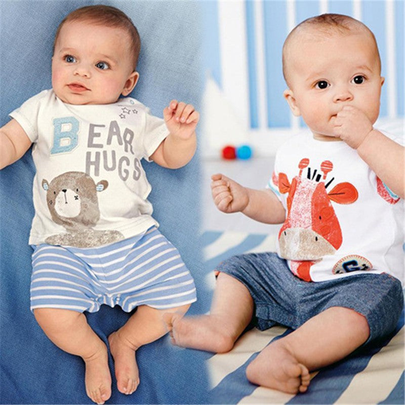 Summer Baby Boy Cartoon Animal Romper
