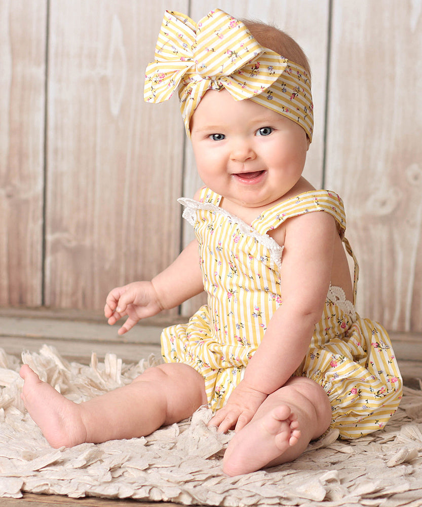 Cute Baby Girl Ruffled Flower Romper + Headband