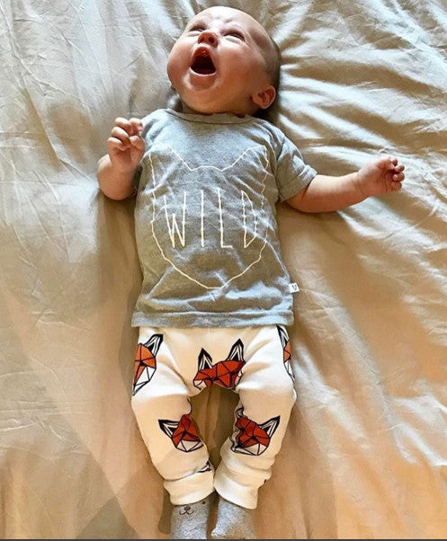Short sleeve Fox T shirt+Pants Set for Baby Boy
