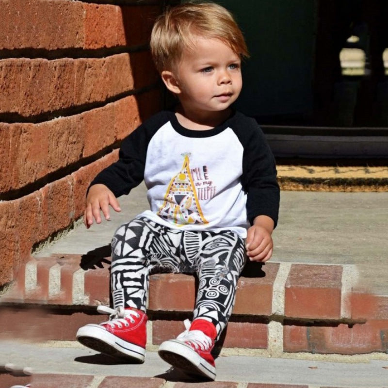 Tribal T-shirt + Printed Pants Set for Toddler/Boy