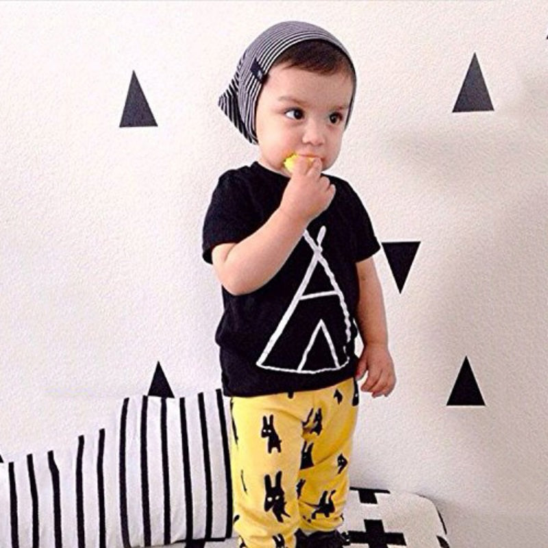 Indian Tent T-shirt+Print Pants Outfit For Toddler/Boy