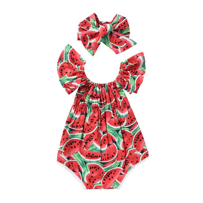 Watermelon Headband + Romper Outfit for Baby Girl