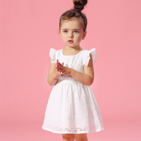 Flutter Sleeves Cotton Lace Dress for Toddler/Girl