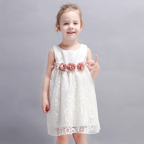 Sweet Dress with Flower Decoration for Toddler/Girl