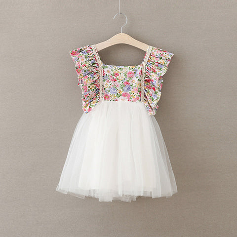 Beautiful Mesh and Flowers Dress for Toddler/Girl
